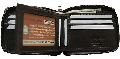 Genuine Leather Mens Zipper Zip-Around Outside ID Credit Card Bifold Wallet Bk
