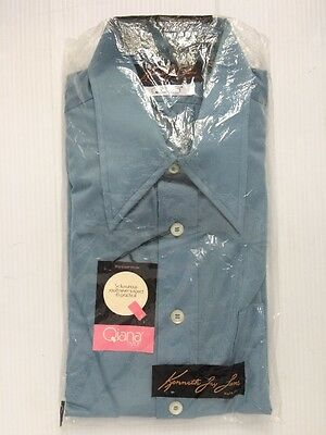 NOS VTG Large 1970s Kenneth Jay Lane Butterfly Collar Blue Disco Dress Shirt NEW