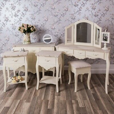 Cream Furniture Set Shabby Chest Bedside Dressing Table Mirror Chic Bedroom