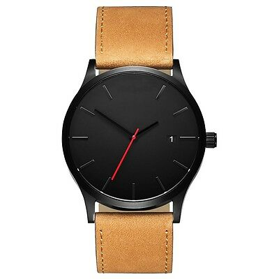 MVMT style Luxury Quartz Watch For Men with Tan Leather Strap - Black/White