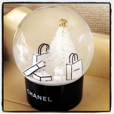 Chanel Novelty Snow VIP Globe Dome White Christmas Tree limited Exellent