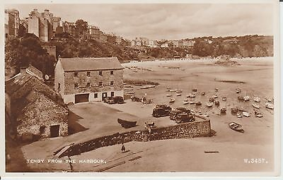 Tenby - From The Harbour -Pembrokeshire - Real Photo - Postcard