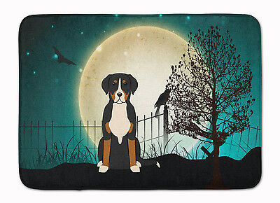 Halloween Scary Greater Swiss Mountain Dog Machine Washable Memory Foam Mat