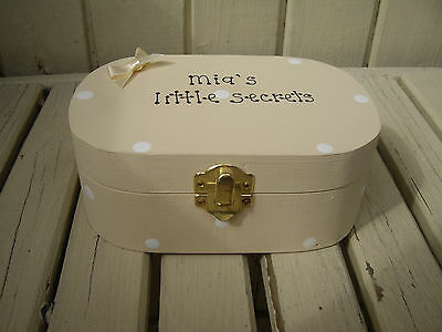 Shabby Chic Hand Painted Wooden Trinket / Gift Box, with Personalised Gift Tag