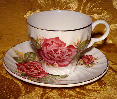 Vintage Wood & Sons *princess Rose* Tea Cup & Saucer Alpine White Ironstone