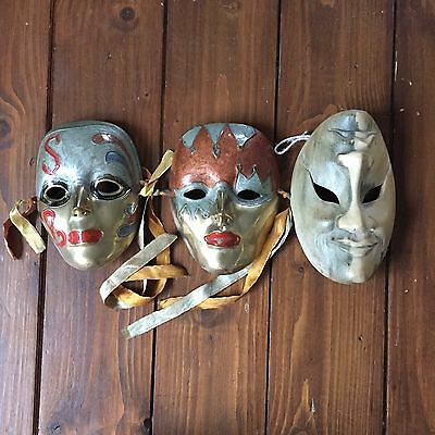 Set of 3 Vintage antique Harlequin metal / wood mask ornaments great condition