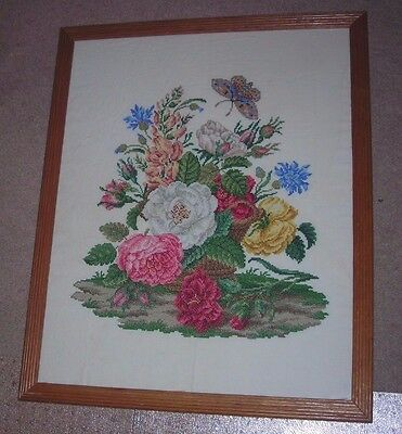 Shabby n Chic Beautiful Large Custom Framed Needlepoint Picture Floral 18 X 22