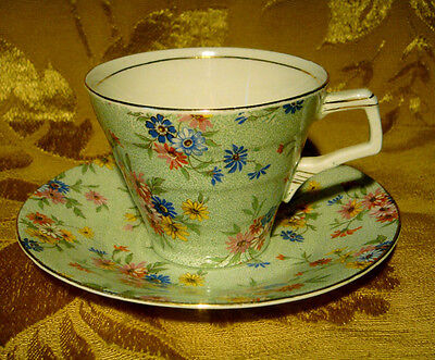 Vintage H & K Tunstall Floral Chintz Cup & Saucer Made In England Gold Trim