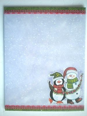"25 Designer Christmas ""PENGUIN & SNOWMAN"" Computer Stationery Sheets"