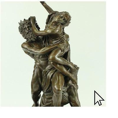 Sculpture Signed Bologna Powerful Ancient Greek God Carry Nymph Bronze Sculpture