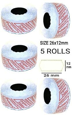 5 ROLLS 26 x 12mm PRICE GUN LABELS COMPATIBLE WHITE WITH PEELABLE ADHESIVE NEW