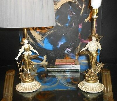 Pair Antique Nouveau Style Spelter & Bronze finish French Metal Figures as lamps
