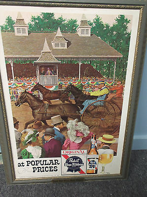 """Pabst Blue Ribbon  Beer At Popular Price Horse Racing Sign VIBRANT COLORS 29X21"""""""
