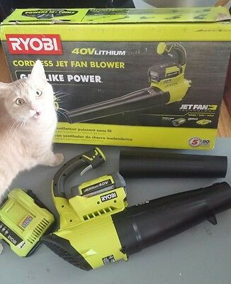 Ryobi 40V Lithium Ion Cordless Jet Fan Blower W/ Battery & Charger Ry40402