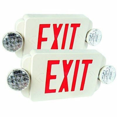 eTopLighting 2 Packs of LED Red Exit Sign Emergency Light Combo with Batte...NEW