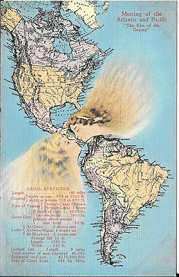 1936 Map Postcard: The Kiss Of The Ocean With Meeting Of The Atlantic & Pacific