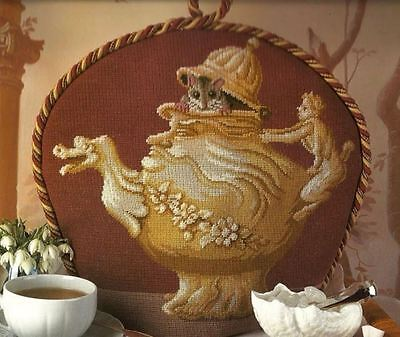 Ehrman designer GRAHAM RUST MOUSE & TEAPOT teacosy or cushion tapestry chart