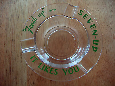 """Clear Glass Ashtray Green Lettering Slogan """"Fresh Up"""" with Seven-Up It Likes You"""