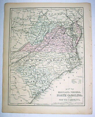 1879 Delicately Hand-Colored Map: Maryland, Virginia, North and South Carolina