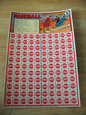 Vintage 1940s Baseball Punch Card Game W.H. Brady Co. Candy Bar Game - Unused