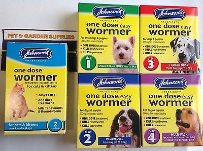 Johnson's One Dose Easy Wormer Worming Tablets FOR DOGS/PUPPIES & CATS/KITTENS