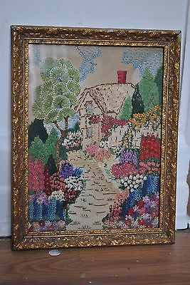 Vintage 1940's Hand Embroidered Detailed Country Cottage Garden Gilt Frame