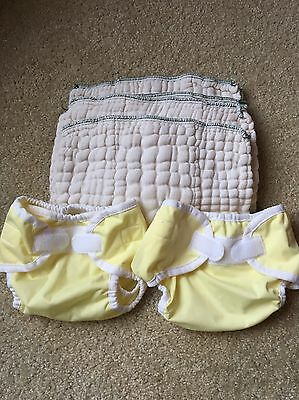 Lot Of 2 Thirsties Diaper Covers Sizes XS And S With 3 Organic Cloth Diapers