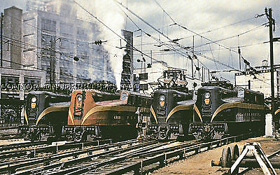 Penn Rr Photo Rppc Electric 4 Engines Lined Up Sunnyside Ny