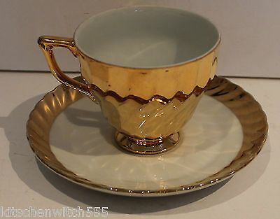Gold Swirl Cup Saucer White Duo Classic Fine China Australia Vintage