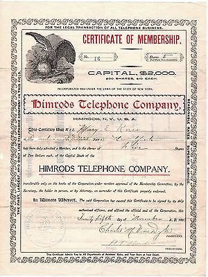 RARE Stock Certificate - Himrods Telephone Company 1905 Himrod Milo NY Uncancell