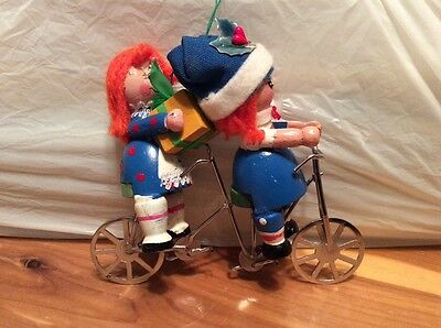 1980 Kurt S Adler Wooden Kids On Bicycle Built For Two Ornament