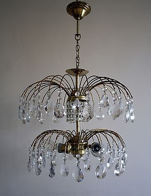 Antique / Vintage Waterfall Style Brass & Crystals Chandelier Ceiling Lamp