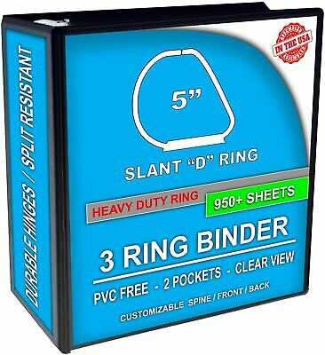 3 Ring Binder, Slant D-Rings, Clear View, Pockets (5 Inch, black)