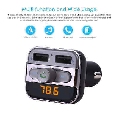KAKIT LED Display Bluetooth Wireless Car FM Transmitter Modulator Hands-Free Car