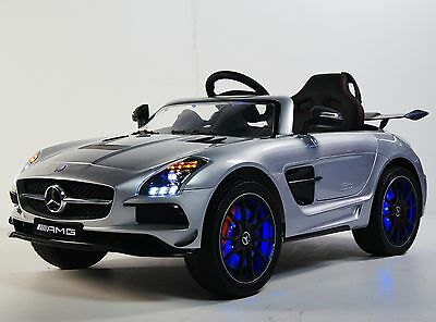 Kids Ride On Car Mercedes SLS AMG 12v Battery Operated With Remote Control Silve
