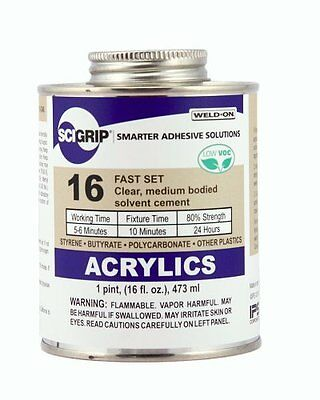 SCIGRIP 16 Acrylic Cement, Low-VOC, Medium bodied, 1 Pint Can with Screw-o...NEW