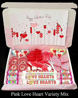 Personalised Valentines Day Sweet Gift Boxes Retro Hard Boiled Jelly Love Heart