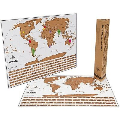 World Travel Tracker Map. Scratch your travels. US States Flags and Gift Pack...
