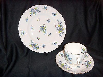 """Royal Tuscan """"Forget Me Not"""" Fluted 3 PieceTea Set / Plate, Saucer and Cup"""