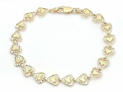 "14K Solid Yellow Gold Double Heart Link Bracelet 7.25"" 7.5mm - 6.7 grams"