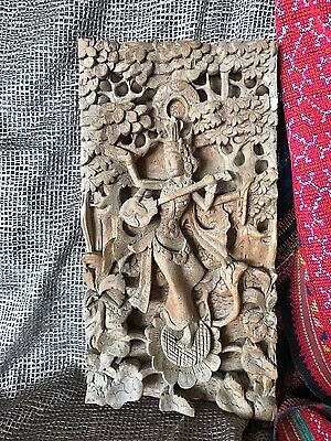 Old Balinese Deep Carved Wooden Wall Hanging (A) …beautiful Carved