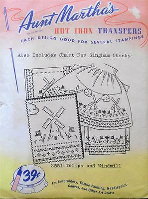 Vintage Aunt Martha's Hot Iron Embroidery Transfer, 3551 TULIP & WINDMILL  UNCUT