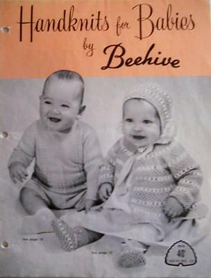 Vintage Knitting Pattern Booklet HANDKNITS FOR BABIES by Beehive Series No. 78