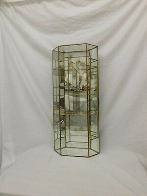 "Brass Glass Wall Curio Cabinet Shelf Display Case Mirror Back 27.5"" Unique Shape"