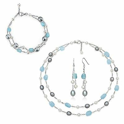 Silver Freshwater Pearl & Milky Aquamarine Chain Set| Earrings Necklace Bracelet