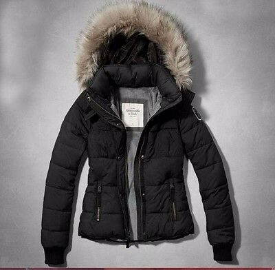 Abercrombie & Fitch Simple Women's Hooded Down Black Jacket S/M/L