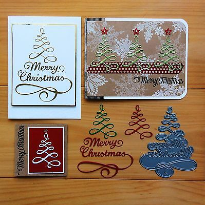 IMPRESSION OBSESSION MERRY CHRISTMAS TREE Cutting Die - BNIP