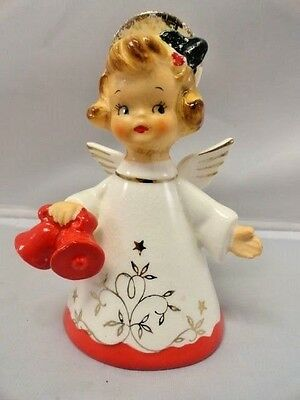 Napco Vintage Xmas Angel Bell w/ Red Bells Holly Berry Mica Gold 1957 Nostalgia