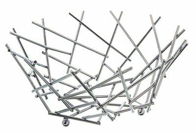 American Metalcraft FRUC10 Round Thatch Basket, Chrome...NEW
