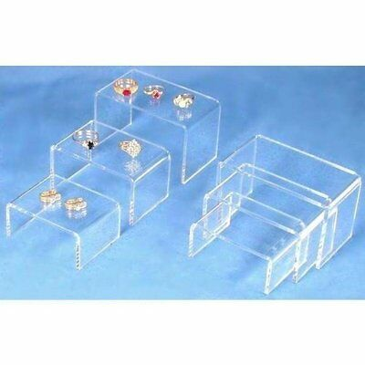 6 Clear Acrylic Jewelry Display Risers Showcase Fixtures...NEW